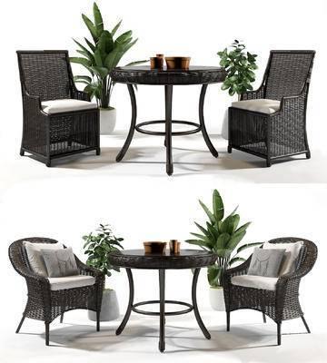 户外椅, 藤椅, 桌椅组合, 植物