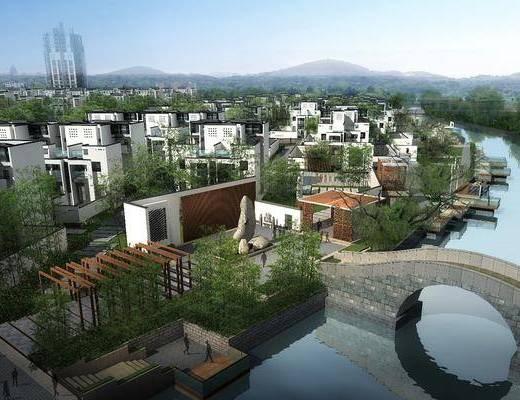 别墅鸟瞰, 建筑, 树木, 绿植植物, 石头, 中式