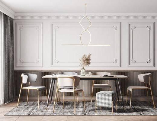 现代餐厅, 现代餐桌椅组合, 餐桌椅组合