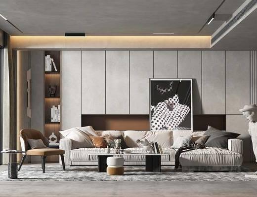 现代客厅, 沙发, 雕塑, 装饰画, 装饰柜, 电视背景墙