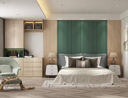 卧室, 床具组合, 单人椅, 台灯, 摆件组合, 挂画组合, 现代