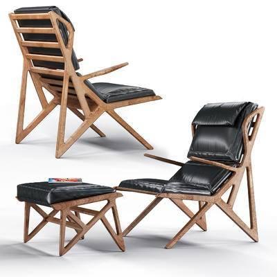 休闲椅, 脚踏, 凳子, 书籍, 现代