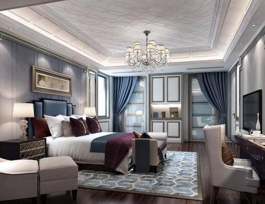卧室, 双人床, 床头柜, 单人沙发, 凳子, 装饰画, 挂画, 书桌, 吊灯, 台灯, 床尾凳, 装饰柜, 欧式