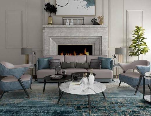 沙发组合, 多人沙发, 茶几, 单人沙发, 边几, 台灯, 盆栽, 绿植植物, 装饰画, 挂画, 摆件, 装饰品, 陈设品, 现代