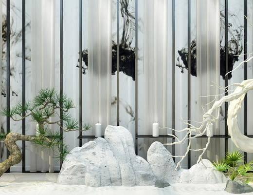 园艺小品, 石头, 盆栽, 绿植, 新中式