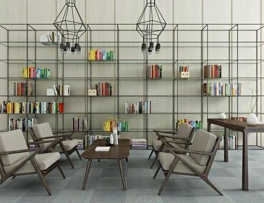 书柜, 装饰架, 装饰柜, 桌子, 单人椅, 书籍, 装饰品, 陈设品, 吊灯, 现代