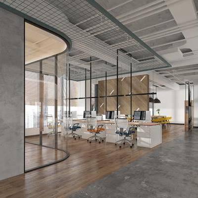 办公室, 北欧办公室, 工业风, 办公桌, 桌椅组合, 单椅, 椅子, 前台, 吊灯, 管道, 墙饰, 植物, 盆栽, 摆件, 装饰品, 柜架组合, 挂画, 北欧