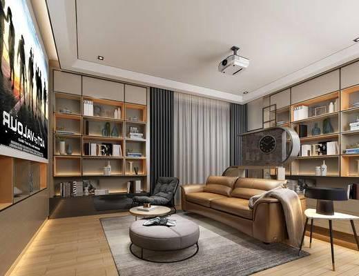 现代, 影音室, 置物柜, 茶几, 沙发, 灯具