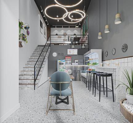 店铺, 奶茶店, 吊灯, 楼梯, 墙饰, 吧椅, 植物