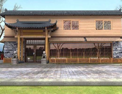 门面, 门头, 古建, 植物, 树木, 石狮子, 新中式户外古建, 户外, 新中式门面门头, 新中式, 户外建筑