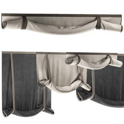 窗帘, 罗马帘, 卷帘组合, 现代