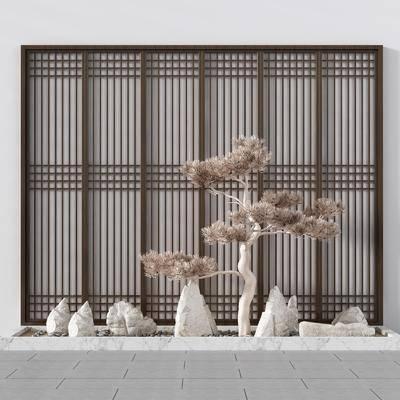 景观小品, 园艺小品, 景观树, 树木, 石头, 景观阳台, 屏风组合, 新中式