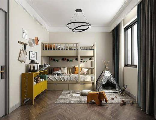 男孩房, 双人床, 上下铺, 边柜装饰柜, 吊灯
