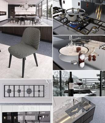 厨房, 橱柜, 厨具, 餐桌椅, 吊灯, 食物, 酒杯, 地毯, 现代