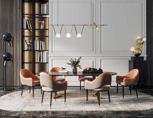 餐桌, 桌椅组合, 吊灯, 餐具组合, 书柜, 装饰品