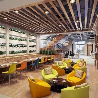 休息区, 休闲区, 盘栽, 餐桌, 餐椅, 单椅, 单人沙发, 茶几, 楼梯, 吊灯, 工业风