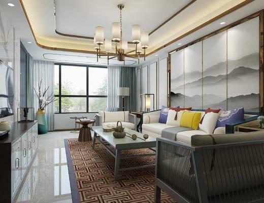 新中式客厅, 客厅, 新中式, 中式沙发, 中式电视柜, 中式吊灯, 中式台灯