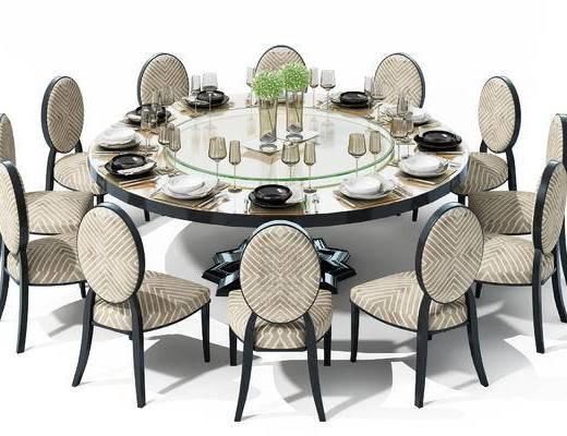 美式, 简约, 餐桌, 圆桌, 椅子, 单椅, 餐具, 高脚杯, 刀叉, 植物, 摆件, 装饰品