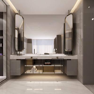 衛生間, 裝飾鏡, 洗手臺, 現代