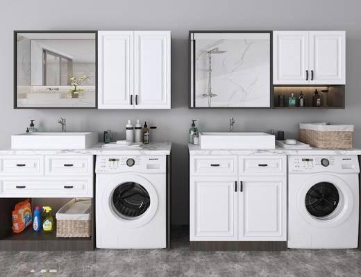 洗衣柜组合, 洗衣机, 装饰柜, 洗手台, 装饰镜, 洗浴用品, 现代