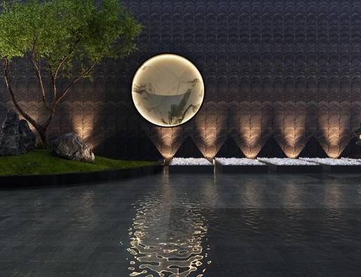 庭院, 花园, 中式, 树, 射灯, 新中式