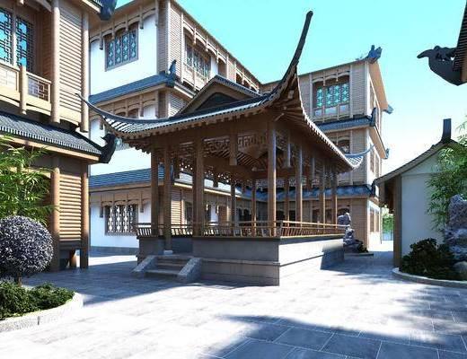 新中式建筑, 客栈, 门头, 屋檐, 中式凉亭, 假山, 室外, 建筑