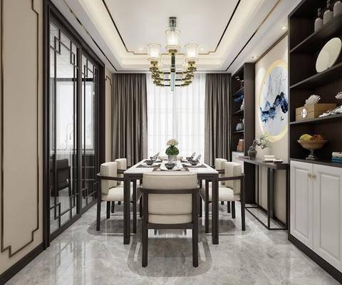 新中式, 客餐厅, 沙发, 餐桌, 吊灯, 玄关, 鞋柜, 端景
