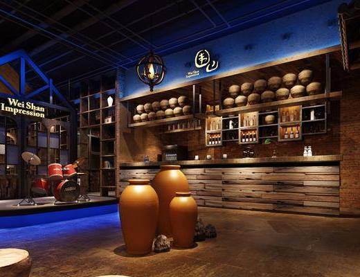 主题餐厅, 门面门头, 装饰架, 单人椅, 多人沙发, 茶几, 吊灯, 摆件, 装饰品, 陈设品, 工业风