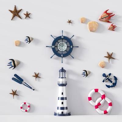 地中海, 墙饰, 海星, 船锚, 船舵, 救生圈, 挂件