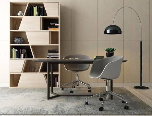 桌椅组合, 办公桌, 办公椅, 落地灯, 装饰柜, 书柜, 单人椅, 书籍, 装饰品, 陈设品, 摆件, 北欧