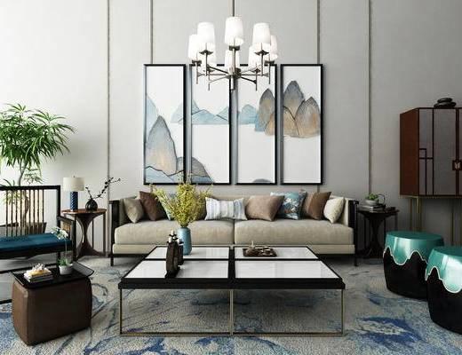 新中式, 中式, 沙发组合, 沙发茶几组合, 吊灯, 装饰画, 挂画, 茶几, 盆栽