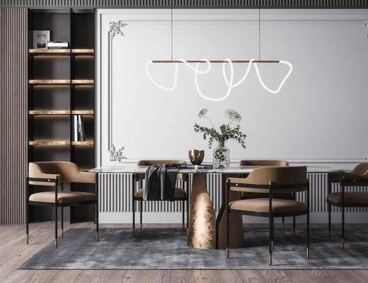 餐桌, 桌椅组合, 吊灯, 摆件组合, 花瓶