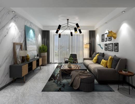 客厅, 现代客厅, 现代沙发, 沙发组合