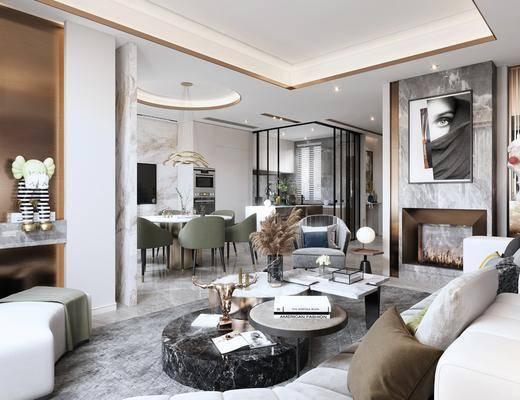 沙发组合, 茶几, 摆件组合, 餐桌, 桌椅组合, 端景台, 装饰画