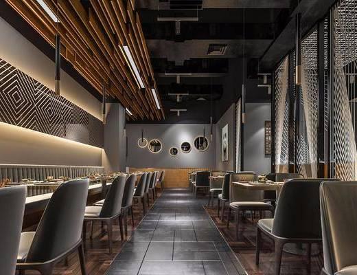 餐厅, 餐桌, 餐椅, 吊灯, 壁灯, 挂画, 餐具, 现代, 工业风