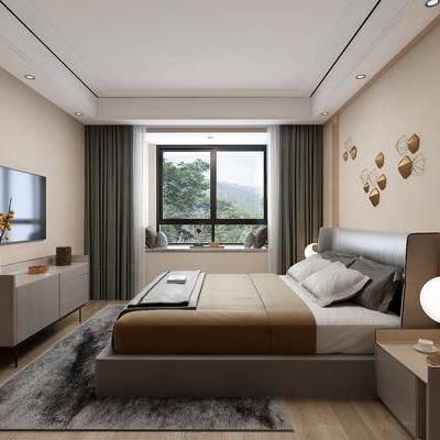 现代卧室, 现代, 卧室, 床, 床头柜, 台灯, 电视柜