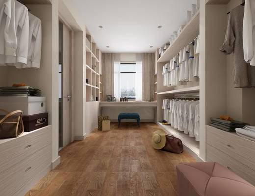 现代简约, 卧室, 衣帽间, 床具组合, 衣服组合, 柜组合