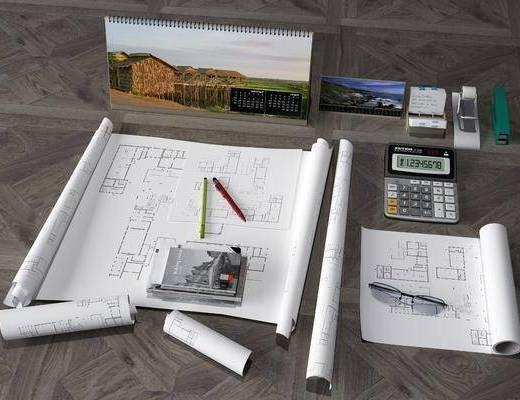办公文具, 文具图纸, 办公用品, 现代