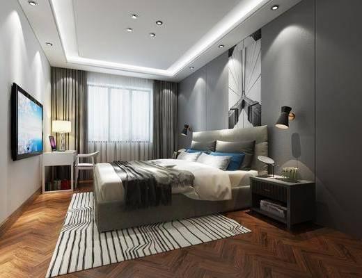 卧室, 床具组合, 桌椅组合, 壁灯组合, 现代简约