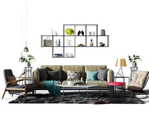 多人沙发, 布艺沙发, 装饰架, 摆件, 单人沙发, 茶几, 台灯, 吊灯, 北欧