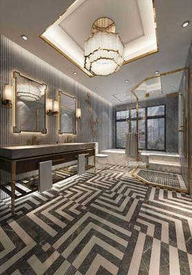 卫生间, 装饰镜, 洗手台, 吊灯, 水晶吊灯, 现代