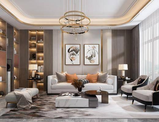 沙發組合, 茶幾, 裝飾畫, 吊燈, 單椅, 裝飾柜