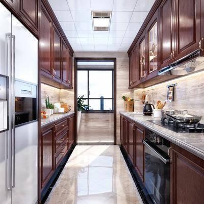 厨房, 橱柜, 厨具, 冰箱, 新中式