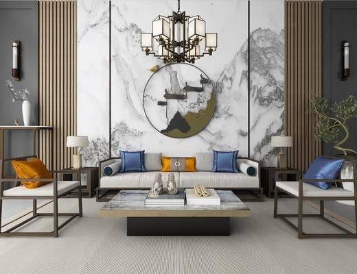 沙發組合, 多人沙發, 邊幾, 臺燈, 單人椅, 茶幾, 圓框畫, 裝飾畫, 掛畫, 吊燈, 壁燈, 擺件, 裝飾品, 陳設品, 新中式