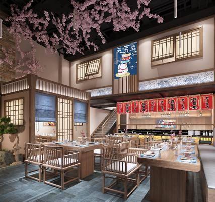 日式, 餐厅, 桌椅组合