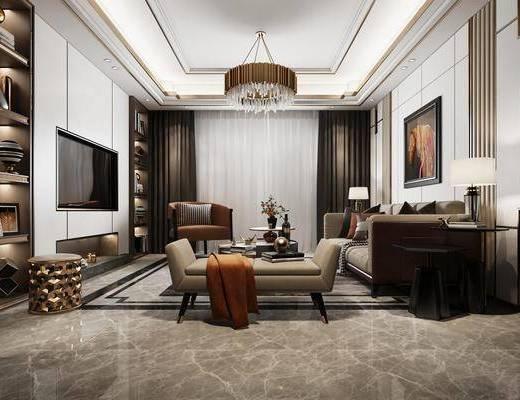 客厅, 多人沙发, 边几, 台灯, 躺椅, 茶几, 单人沙发, 凳子, 动物画, 书柜, 书籍, 摆件, 装饰品, 陈设品, 吊灯, 现代轻奢