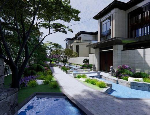 联排别墅, 双拼别墅, 住宅, 建筑, 植物