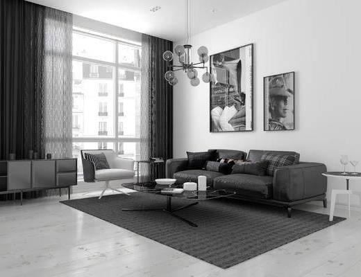 北欧, 沙发组合, 现代, CR, 黑白灰