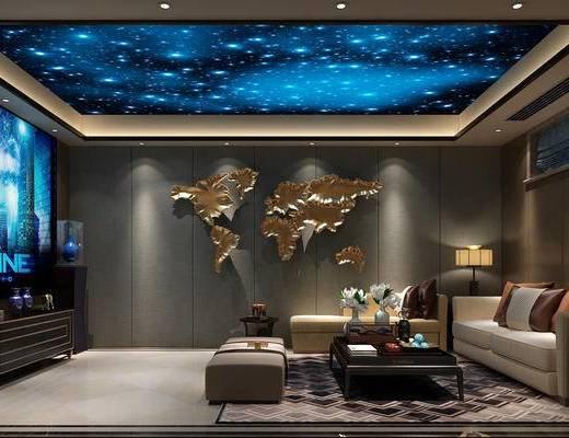 新中式, 影音室, 沙发, 边几