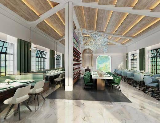 餐厅, 餐桌, 餐椅, 单人椅, 卡座, 吊灯, 装饰柜, 现代